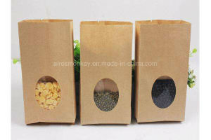 High Quality Kraft Paper Bag with Clean Window Food Favor Bag pictures & photos