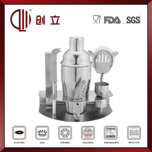7PCS Stainless Steel Barware Set with Metal Holder