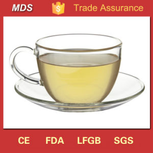 Heat Resistant Borosilicate Clear Glass Teacup and Saucer pictures & photos