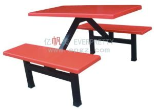 2015 Modern Red 4 Seater Dining Table & Bench with Fiber Glass Top and Metal Leg Frame Dt-09 pictures & photos