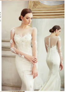 Brand Name Floor Length A-Line V-Neck Long Sleeve Wedding Dress (WD30)