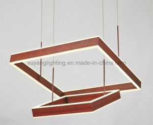 Square LED Pendant Light Double Layer with Copper Color