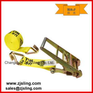 "4"" Yellow Ratchet Strap W/ Double J-Hooks 4"" X 27′ pictures & photos"