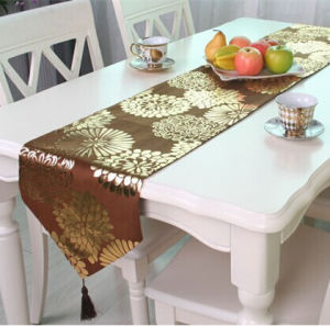Metallic Print Table Runner Decorative Short Plush Table Flag (JTR-15) pictures & photos
