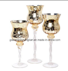 Candle Holder with Clear Twisted Stem and Interior Aluminum (ZT-090) pictures & photos