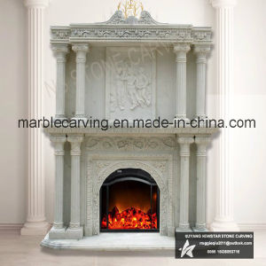 Double Fireplace Mantel in Yellow Marble Over Mantel Nsb056 pictures & photos
