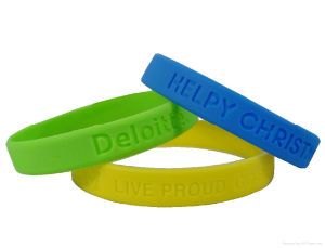 Personalized Debossed Silicone Wrist Band, Silicone Bracelet pictures & photos