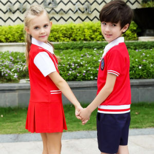 Winter School Uniform Wtih White Knitted Vest Cheap T for Girls and Boys pictures & photos