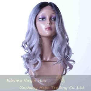 Wholesale Ombre Grey Long Wavy Lace Fron Wig Synthetic Hair Product