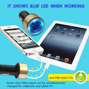 Very Fashion Blue LED Light Dual Car USB Charger pictures & photos