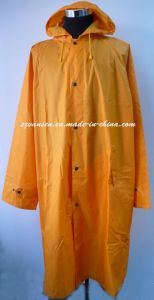 Orange Waterproof Long Raincoat with Hood pictures & photos