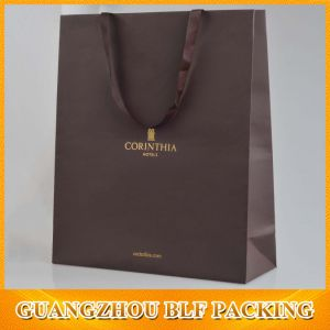 Custom Luxury Gold Logo Paper Bags with Ribbon Handles pictures & photos