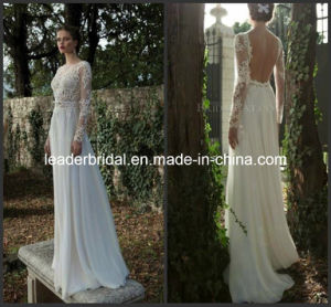 Sheer Sleeves Open Back Lace Chiffon Bridal Wedding Gown (A016) pictures & photos