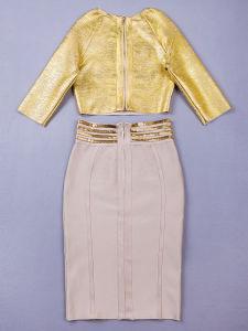 Pure Apricot Fashion Cocktail Bandage Dress &Gold Blouse pictures & photos