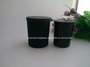 Matte Black Color Glass Candle Holder with Wooden Lid