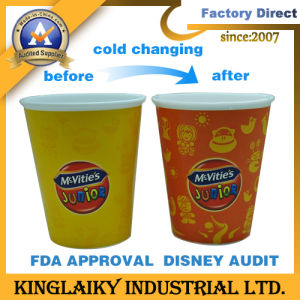 Customized Design Cold Color Changing PP Plastic Mug (KCC-100) pictures & photos