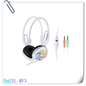 White Portable Low Bass Stereo Headset for Computer