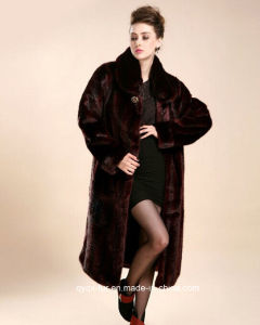 New Fashion European Style Free Shipping Faux Fur Overcoat Plus Size Ultra Long Outerwear Women′s Mink Leather Fur Trench Coat pictures & photos