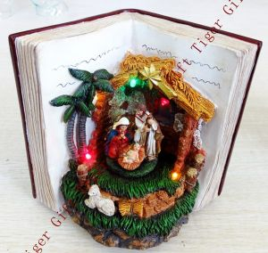 Polyresin Nativity in Bible St. Family Rotating W/LED Light an Music Box