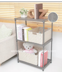 New Adjustable 3 Tiers Powder Coating Perforated Metal Book Shelving for Home pictures & photos
