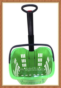 China Superior Colorful Plastic Trolley Shopping Baskets for Supermarket Supplier