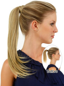 100% Indian Remy Clip on Drawstring Human Hair Ponytail pictures & photos