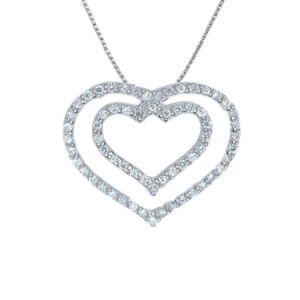 Fashion Inspired 925 Sterling Silver Double Heart Pendant