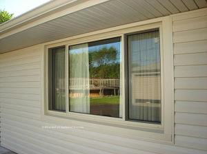 Triple Tracks Aluminium Sliding Window for Residential Properties pictures & photos