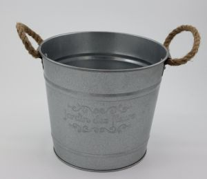 Circular Galvanized Metal Bucket W/ Rope Handle