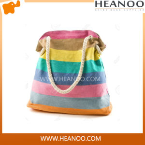 Factory Wholesale Cotton Nylon Beach Bag with Rope Handle pictures & photos