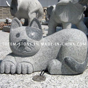 Grey Granite Animal Cat Stone Carved Sculpture for Garden / Landscape pictures & photos