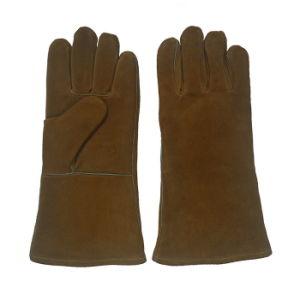 Golden-Brown Heavy Duty Welding Gloves with Ce En12477 pictures & photos