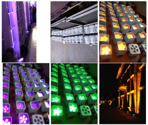 PAR Light Wedding Uplight for 6X18W RGBWA+UV Wireless DMX LED Flat PAR Battery Powered LED PAR pictures & photos