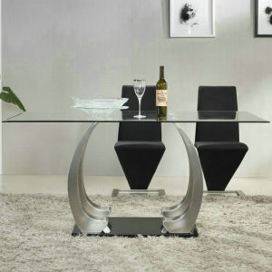 Glass Dining Table with Stainless Steel Leg (A299)