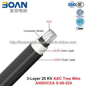 Tree Wire Cable, Overhead Spacer Cable, 25 Kv, 3-Layer AAC (ANSI/ICEA S-66-524) pictures & photos