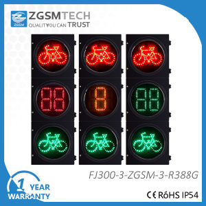 Traffic Signal Bycicle Signal with 2 Digital Countdown Timer Red Yellow Green 3 Colors Dia. 300mm pictures & photos