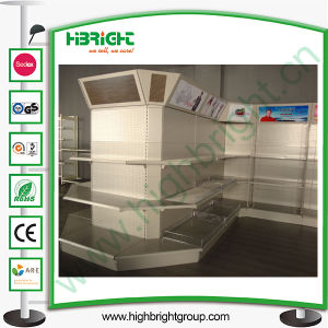 Supermarket Coner Shelving Rack with Light Box pictures & photos