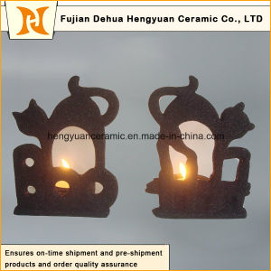 Black Ceramic Candle Holder for Halloween Decorations pictures & photos