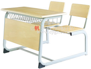 Sf-08d-School Supplier Wooden Double Seater Desk Table for Student Classroom Furniture pictures & photos