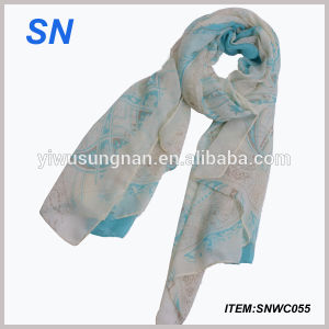 China Fashion Printed Lady Voile Scarf Wholesale pictures & photos