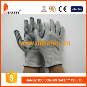 Ddsafety 2017 13G Hppe Glass Fiber Gloves with Spandex Nylon Mixed Black PVC Dots pictures & photos