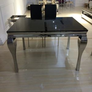 Modern Design Black Color Stainless Steel Glass Dining Table pictures & photos