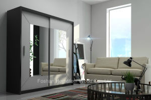 Black Frame White Sliding Doors Wardrobe with Square Mirror (HF-EY0731A) pictures & photos