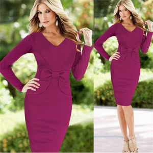 European and American Fashion Waist Bow Decoration Sexy Long-Sleeved Dress pictures & photos
