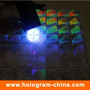 Security Invisible Fluorescent 3D Laser Holographic Sticker pictures & photos