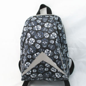 Boys Skull Print Backpack with Reflective Piping pictures & photos