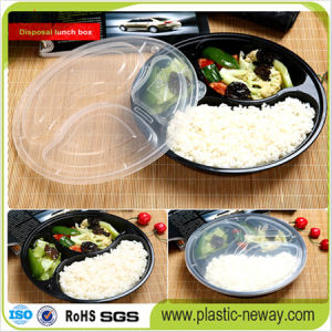 3 Compartments Round Microwaveable Plastic Disposable Lunch Box pictures & photos