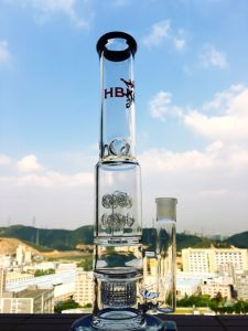 "K11 16inch 60diameter 5thickness Straight Ice Pipe with Double Barrel Perc 9"" Sandblasted Straight Tube DAB Rig Glass Smoking Pipe Glass Pipe pictures & photos"