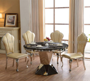 Round Shape Black Marble Dining Table with Chairs pictures & photos