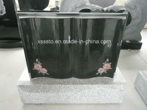 Shanxi Black Tombstone with Customized Flower Deign pictures & photos